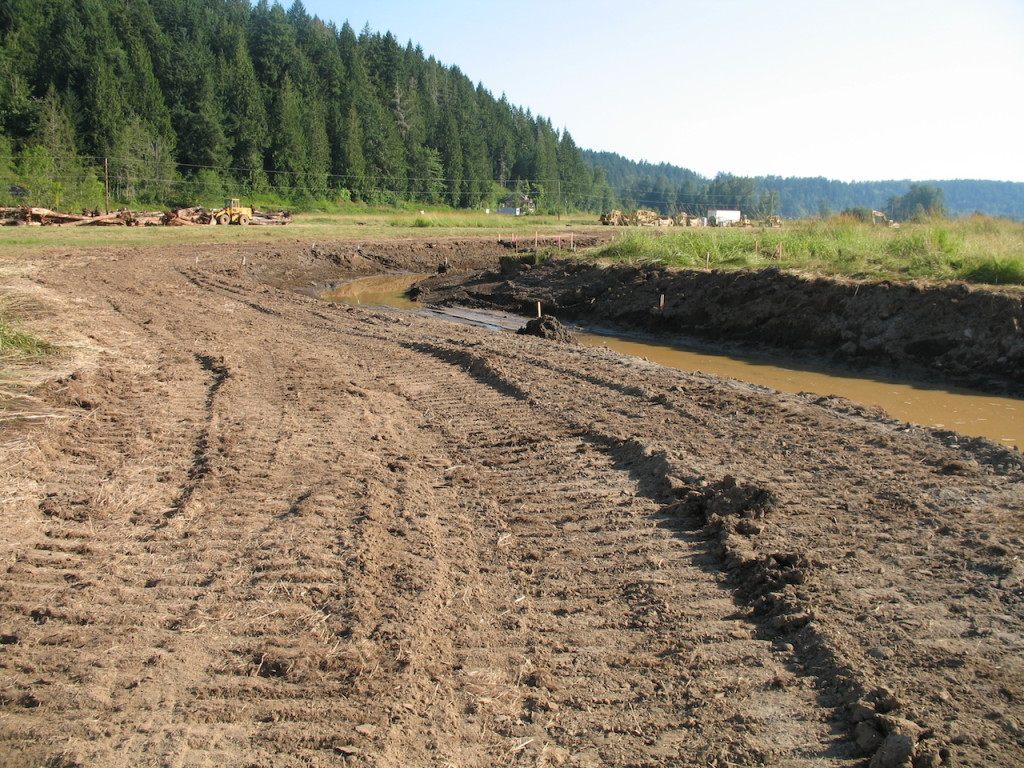 The progress of construction was visible during the groundbreaking celebration. This picture shows a part of the new creek bed that the Ohop will soon flow through. Photo credit: Kim Bredensteiner
