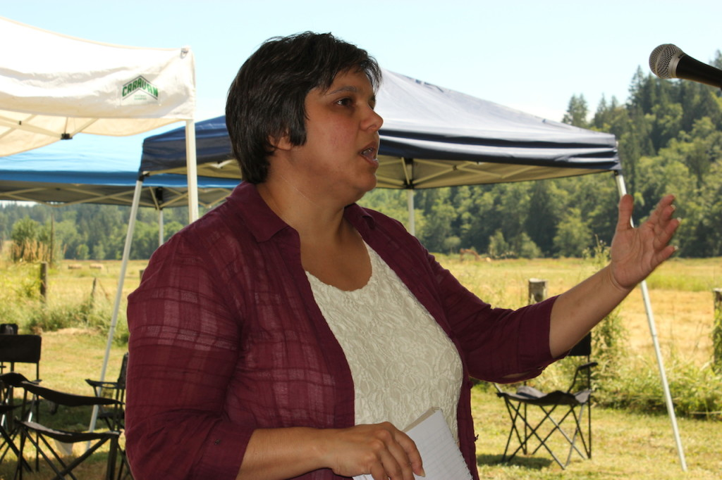 Jeanette Dorner, of the Puget Sound Partnership, recognized the importance of the Ohop Valley Restoration in the context of the Nisqually Watershed and the health of Puget Sound. Photo credit: Emmett O'Connell